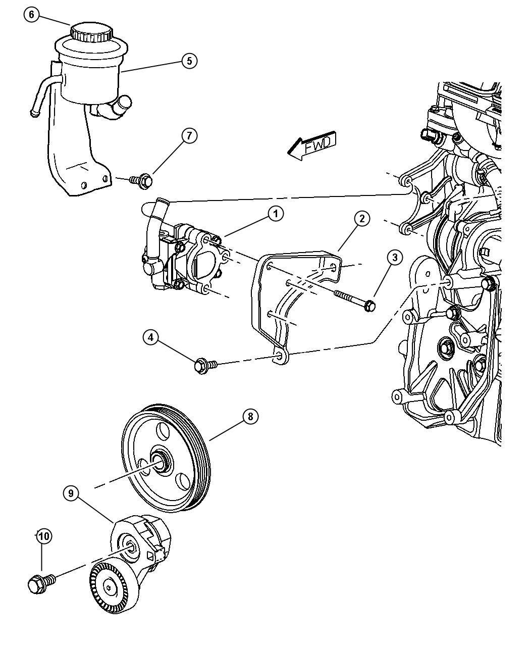 2002 Chrysler Pt Cruiser Cap  Power Steering Reservoir