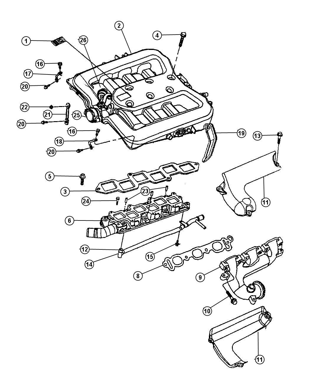 2000 Chrysler Concorde Shield  Exhaust Manifold  Upper
