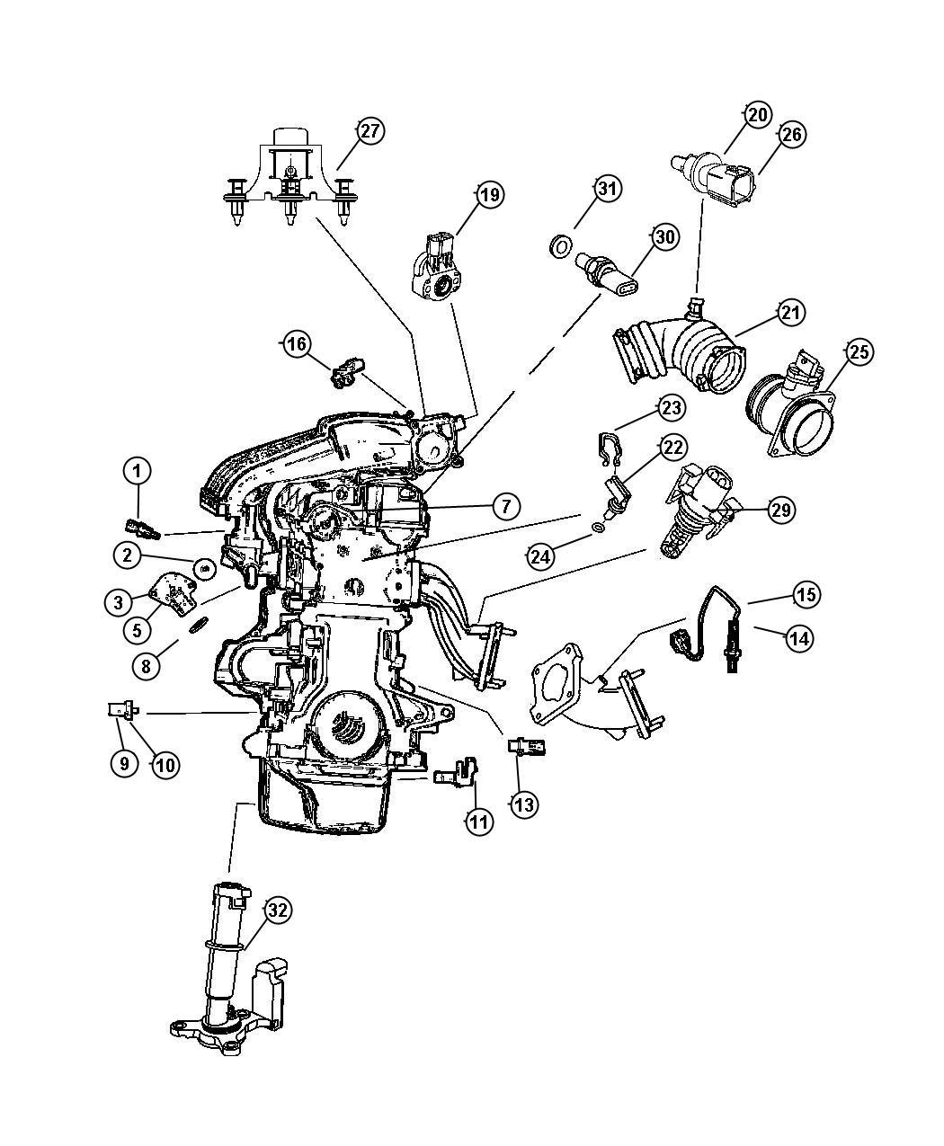Chrysler Sensor. Camshaft. Sensors, Engine