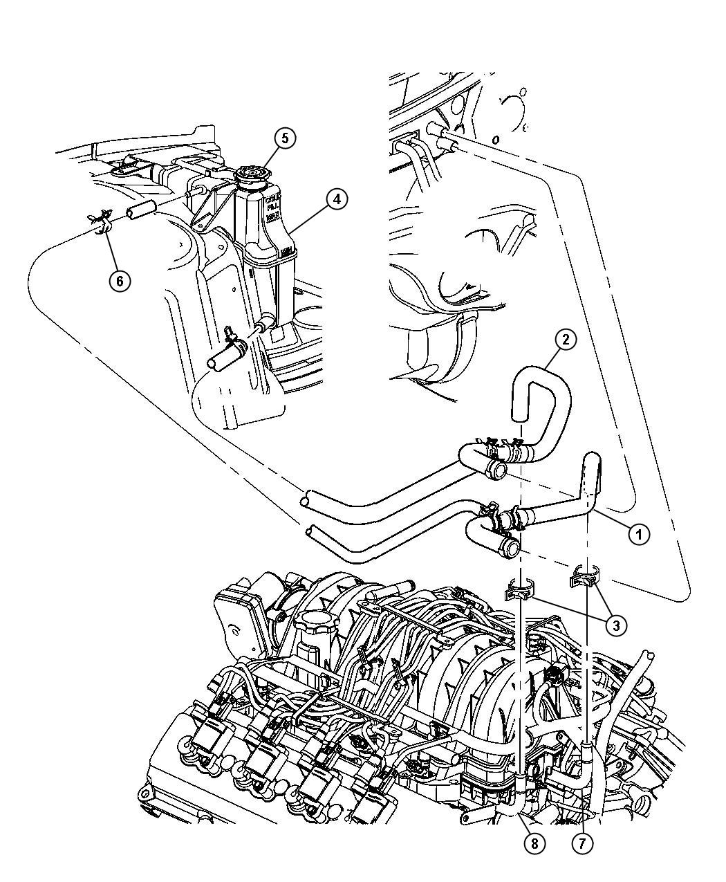 2005 Chrysler 300 Tube  Coolant Outlet  Heater  Plumbing