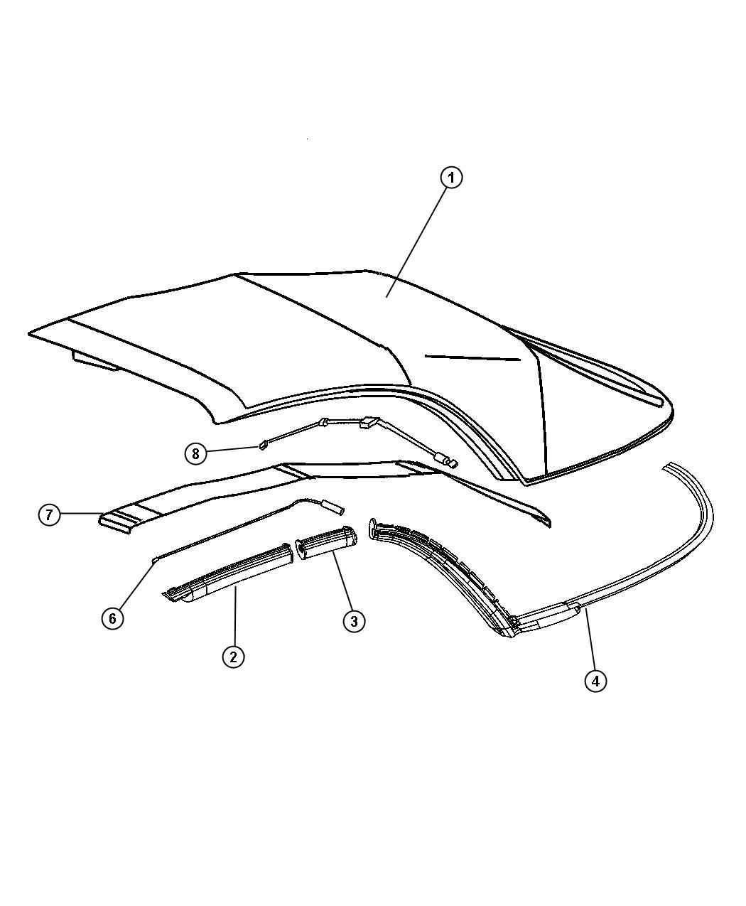2005 Chrysler Crossfire Weatherstrip  Folding Top Side