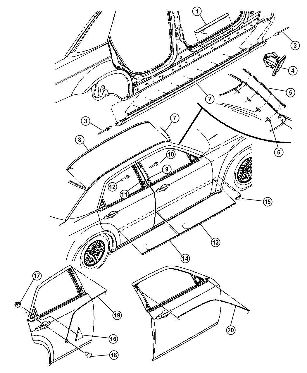 2006 Chrysler 300 Plate  Scuff  Wing Insert  Door  Sill