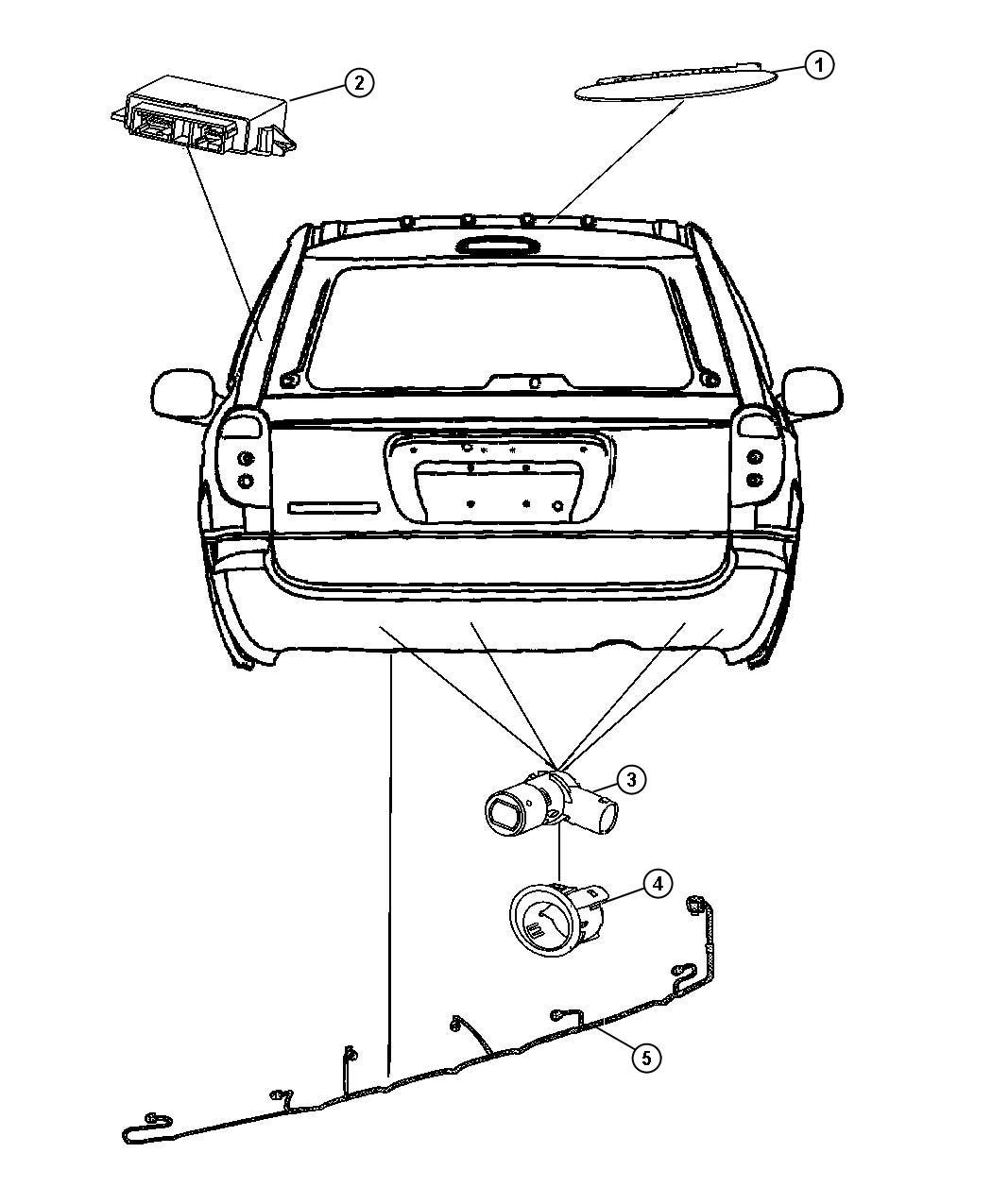 chrysler town  u0026 country wiring  rear fascia  park assist sensor jumper  bench  seats  system