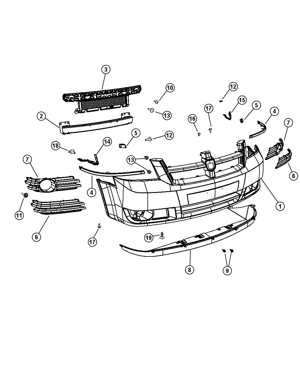 2008 Chrysler Town  U0026 Country Reinforcement  Front Bumper
