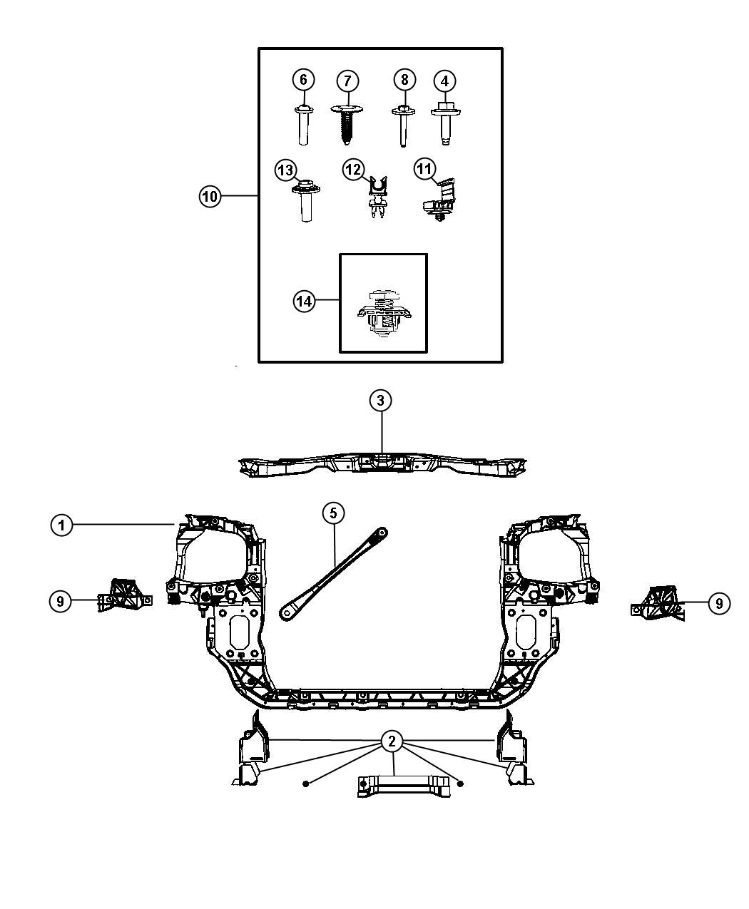 2010 Chrysler Town  U0026 Country Fastener Kit  Front End Module  Needed  Fasteners  Displayheadlamp