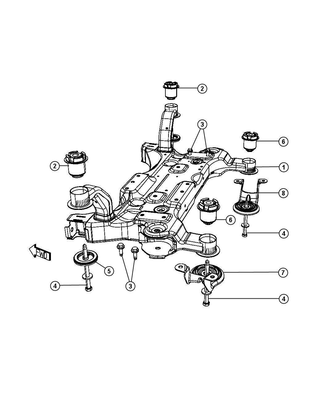 Chrysler Town  U0026 Country Isolator  Cradle  Front