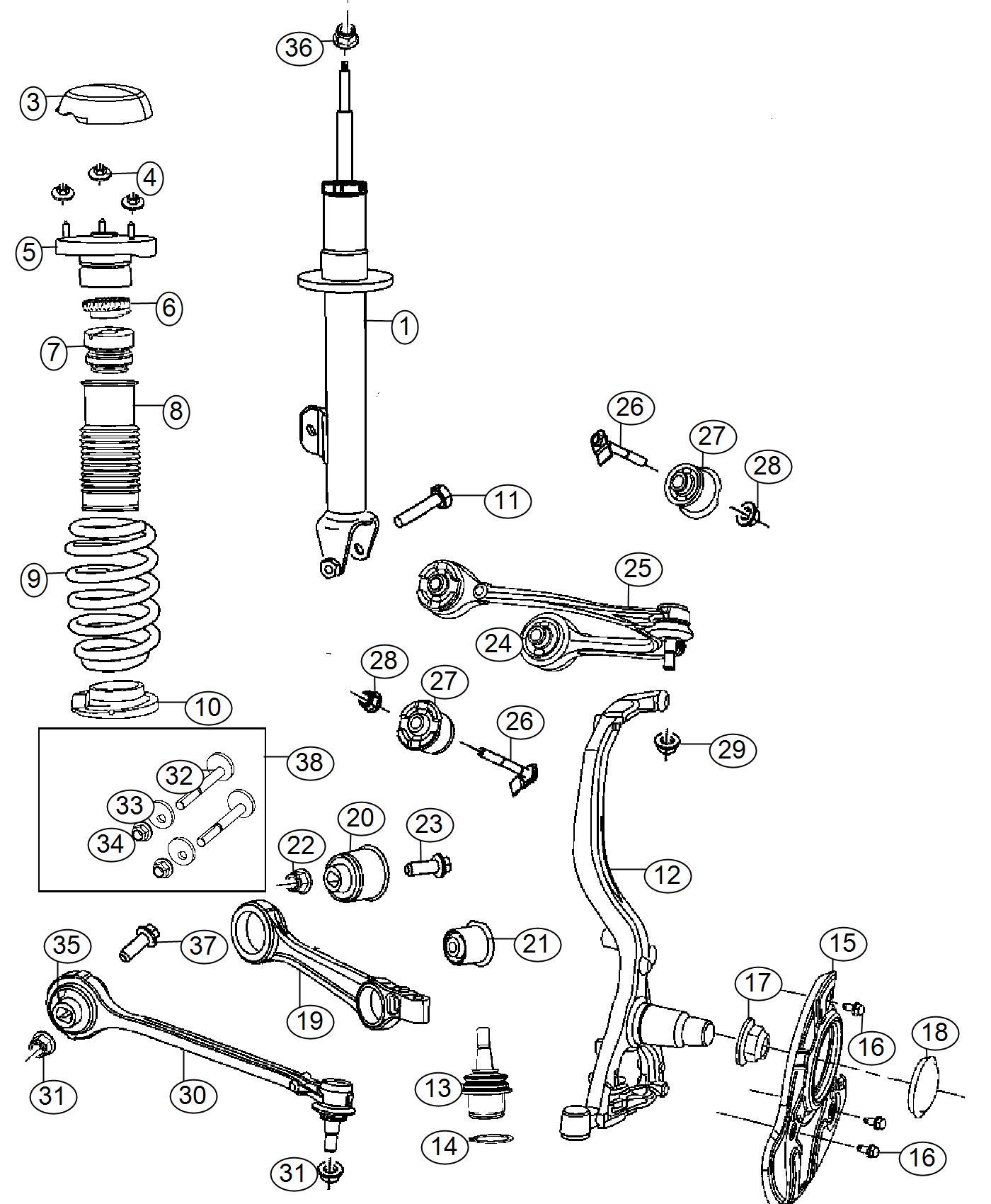 2016 Chrysler 300 Strut  Tension  Left  Fca